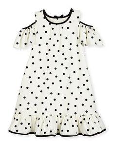 girls' cold-shoulder polka-dot dress, white/black, size 7-14