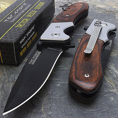 "nice 7"" TAC FORCE SPRING ASSISTED WOOD FOLDING POCKET KNIFE Blade Tactical Open   Check more at http://harmonisproduction.com/7-tac-force-spring-assisted-wood-folding-pocket-knife-blade-tactical-open/"