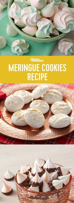Meringue Cookies Recipe - This basic and easy meringue cookie recipe can be dressed up however you like. Add these airy little cookies to the tops of pies and cakes, or dress them up with different colors and sprinkles. Delicious Cookie Recipes, Yummy Treats, Baking Recipes, Sweet Treats, Dessert Recipes, Desserts, Easy Meringue Cookies, Meringue Cookie Recipe, Cookie Cheesecake
