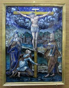Atelier de Pierre Reymond, la Crucifixion (château d'Ecouen): Scènes de la vie du Christ, 3° quart du XVI°s, émail peint polychrome, Fonds Du Sommerard, 1843 E.CL 897 a-p.