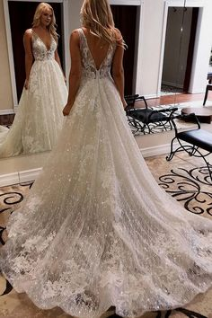 Buy Luxurious Ball Gown V Neck Open Back Ivory Lace Wedding Dresses,Sequins Beach Bridal Dresses Online – SisaStore Beach Bridal Dresses, Top Wedding Dresses, Applique Wedding Dress, Wedding Dress Trends, Sexy Wedding Dresses, Mermaid Dresses, Cheap Wedding Dress, Sexy Dresses, Wedding Gowns
