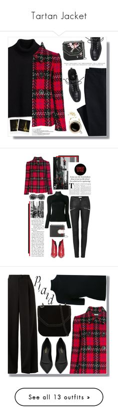 """""""Tartan Jacket"""" by ms-millie ❤ liked on Polyvore featuring Miu Miu, Canvas by Lands' End, Giuseppe Zanotti, STELLA McCARTNEY, Polaroid, Thierry Mugler, Helmut Lang, Valentino, plaid and sunnies"""