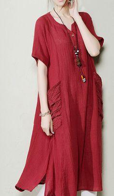 2016 New design. Plus size summer dress. Burgundy plus size linen sundresses summer linen dresses long blouse shirt
