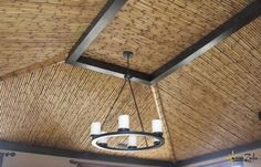 Solid Bamboo ceiling - makes the room feel warm and inviting. Learn more about amaZulu's solid bamboo poles at http://www.amazuluinc.com/solid-bamboo