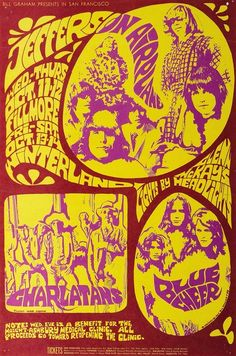 Jefferson Airplane, Charlatans, and Blue Cheer benefit gig a the Fillmore, October 1967.