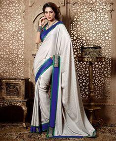 Splendorous Silver Party Wear Saree [ADF28333] $61.13 - Buy fashion wear online, Buy Indian wear Online by A1designerwear.com