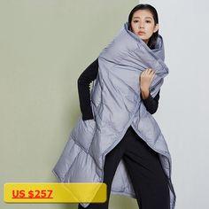 LYNETTES CHINOISERIE Autumn Winter Original Design Women Loose Medium Long 90% White Duck Down Sleeveless Vest Cape Outerwear