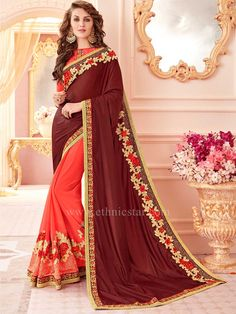 0c5f99a9954fa Fashion and pattern will be on the peak of your splendor the moment you  attire this brown and orange art silk and faux georgette designer half n half  saree.