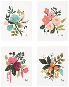 Botanical Set of 8 Folded Cards, 2 of Each Design Rifle Paper Co. (To frame for artwork on the walls) - DIY @ Craft's Rifle Paper Company, Illustration Blume, Flat Illustration, Illustration Flower, Pattern Illustration, Guache, Motif Floral, Floral Illustrations, Greeting Cards