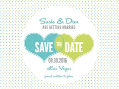 Picture of a blue and green heart save the date template