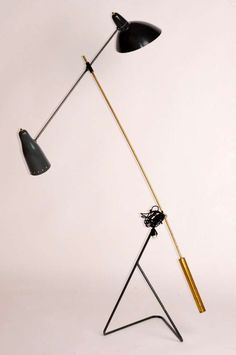 Anonymous; Brass and Painted Metal Floor Lamp, c1950.