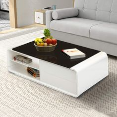OFCASA White High Gloss Coffee Table with Storage Glass Top Coffee Table and Storage Cabinet Side Table Living Room Home Office Reception Furniture Centre Table Living Room, Coffee Table Decor Living Room, Side Table Decor, Coffee Table With Shelf, Glass Top Coffee Table, White Gloss Coffee Table, Sofa Side Table, Sofa Table Design, Coffee Table Design