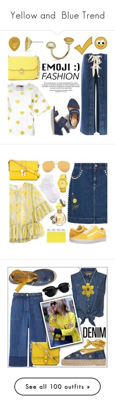 """""""Yellow and  Blue Trend"""" by yours-styling-best-friend ❤ liked on Polyvore featuring Topshop, JENNY FAX, Valentino, Talbots, STELLA McCARTNEY, Linda Farrow, Dolce&Gabbana, H&M, Boum and Vans"""
