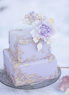 Featured Photographer: Simply Sweet Photography; Luxury two tier square purple and gold wedding cake