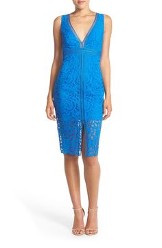 Free shipping and returns on Bardot 'Shauna' Lace Sheath Dress at Nordstrom.com. A flirty update on a classic summertime frock, this lacy dress features contrasting trim that creates a caged effect through the V-neck bodice and split-front skirt. The sheer midi-length hem and back with button detailing heighten the romantic appeal of the curve-flattering style.