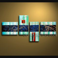 Beautiful Modern Abstract Painting Artist Oil Painting For Bed Room Abstract. This 4 panels canvas wall art is hand painted by A.Qiang, instock - $132. To see more, visit OilPaintingShops.com