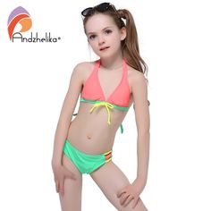 a00a49b5f9 Andzhelika 2017 Summer Girls Bikini Cute Bow Two-Piece Suits Children  Swimwear big Bottom Swimming Suit Kid Bathing Suit