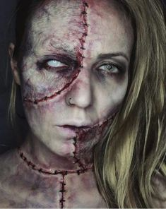 36 Scary Halloween Costume Photos That Are Creepiest - FunRare Horror Makeup, Zombie Makeup, Scary Makeup, Sfx Makeup, Costume Makeup, Normal Makeup, Amazing Halloween Makeup, Halloween Make Up, Halloween Face Makeup