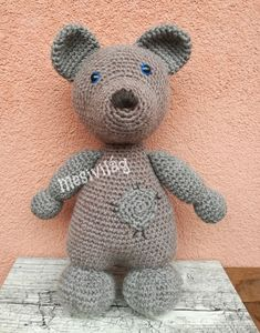 Zsebi, a foltozott maci Dinosaur Stuffed Animal, Teddy Bear, Wool, Animals, Amigurumi, Animais, Animales, Animaux, Animal