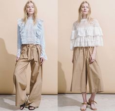 Sea New York 2017 Resort Cruise Pre-Spring Womens Lookbook Presentation - Orchid Poplin Victorian Preppy Wrap Tie Up Knot Ribbon Dress Chambray Pseudo Denim Jacket Skirt Sleeveless Lace Wide Leg Trousers Palazzo Pants Culottes Gauchos Roll Up Ruffles Stripes Tiered Check Onesie Jumpsuit Flowers Floral Chunky Knit Turtleneck Strapless Ornamental Frayed Raw Hem Jeans
