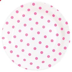 Paper Plates White with Pink Dots (12 Pack) £4.99