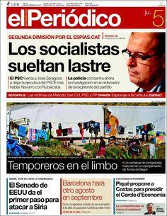 Los Titulares y Portadas de Noticias Destacadas Españolas del 5 de Septiembre de 2013 del Diario El Periódico ¿Que le pareció esta Portada de este Diario Español?