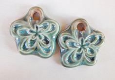 Handmade porcelain Earring Pairs charms  luster light por Majoyoal