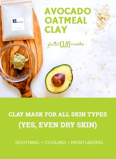 Avocado & oatmeal clay mask recipe for glowing and moisturized skin! Cooling Avocado Mask DIY recipe for all skin types Finally a clay mask for dry skin. Care Skin Condition and Treatment Oil Makeup Mask For Dry Skin, Skin Care Masks, Face Scrub Homemade, Homemade Face Masks, Homemade Moisturizer, Clay Face Mask, Clay Masks, Oatmeal Face Mask, Bentonite Clay Mask