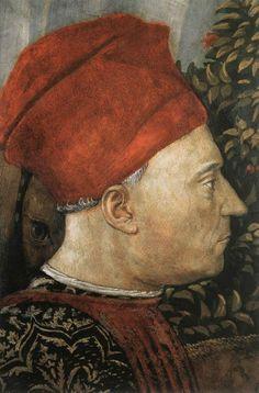 Benozzo Gozzoli - Procession of the Middle King (detail) portrait of Piero de' Medici called 'Il Gottoso' - fresco painting - Palazzo Medici-Riccardi (Firenze) - Cappella dei Magi