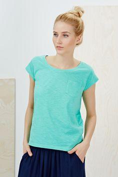 T-shirt morski z krótkim rękawem i kieszonką