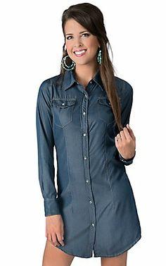 Cowgirl Hardware® Women s Denim Long Sleeve Shirt Dress  9cf9ec3eb