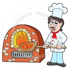 Cartoon Chef Baking Pizza by clairev | Toon Vectors EPS #42572