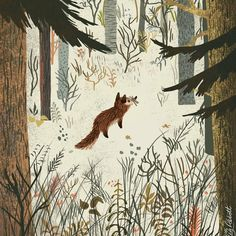 "Sara Barnes (@brwnpaperbag) on Instagram: ""Into the woods... before it gets too dark. #Illustration by Greg Abbott — #illustrated…"""