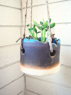Hanging planter. Cool idea for integration for art and environment. Slab or coil (for older grade levels)