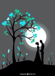 Casal silhueta à luz da lua