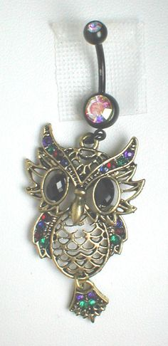 Unique Belly Ring - Owl with Rhinestones. $14.95, via Etsy..would totally get this if I ever pierced my belly button