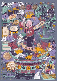 Discover the traditional pastries of Jiangnan-original works- 寻味江南之传统糕点 – 原创作品 Discover the traditional pastries of Jiangnan-Original Works-ZCOOL - Art And Illustration, Cover Art, Taiwan Image, Chinese Ornament, Game Concept Art, Graphic Design Posters, Asian Art, Game Art, Illustrators