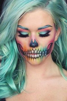 51 Killing Halloween Make-up-Ideen, um alle Komplimente zu sammeln . - 51 Killing Halloween Makeup Ideas To Collect All Compliments And Treats Hübsche Halloween-Make-up - Beautiful Halloween Makeup, Cute Makeup, Pretty Makeup, Pretty Skeleton Makeup, Makeup Art, Beauty Makeup, Skeleton Makeup Tutorial, Wolf Makeup, Dewy Makeup