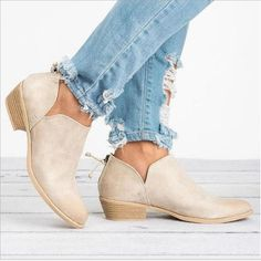 a7f9a9532cd0 Women Pu Boots Casual Daily Chunky Shoes – Sheiner Low Heel Ankle Boots