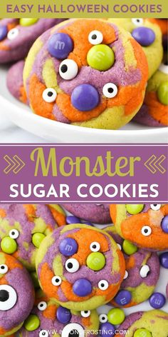 These soft, chewy and buttery sugar cookies are loaded with candy eyes and Halloween M&Ms. Looking for an easy Halloween dessert? These Monster Sugar Cookies are it! Halloween Themed Food, Halloween Desserts, Halloween Themes, Fall Halloween, Autumn Inspired Recipes, Buttery Sugar Cookies, Candy, Sweets, Candy Bars