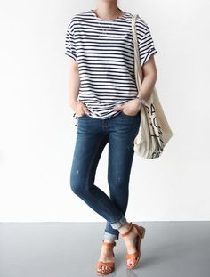 Simple, cute everyday style - love the stripes!