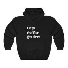 Cats, Coffee and Dice Hoodie - Black / M
