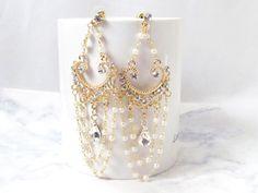 Chandelier Earrings, Wedding Earrings, Statement Bridal Earrings, Pearl Chandelier Earrings, Gold Vintage Style Wedding Jewelry - pinned by pin4etsy.com