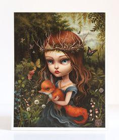 Los entomólogos hija - firmado 11 x 14 pop surrealismo Fine Art Print por Mab Graves-sin marco