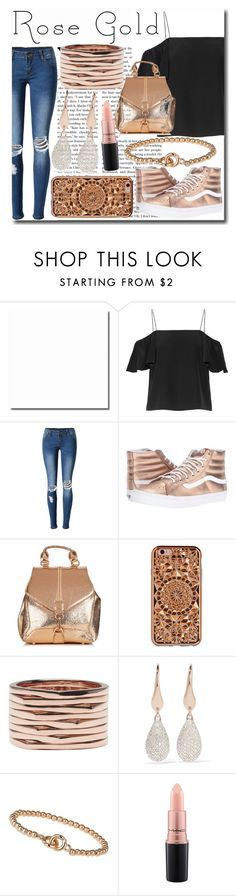 """""""So Pretty: Rose Gold Jewelry"""" by emmy-124fashions ❤ liked on Polyvore featuring Fendi, WithChic, Vans, Felony Case, Repossi, Monica Vinader, Miss Selfridge, MAC Cosmetics and rosegold"""