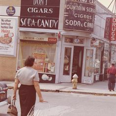 1960s Brooklyn street scene, corner candy store. Mine was VJs. Had a soda fountain and comic racks.