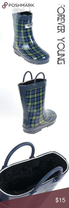 Kids Faux Fur Lined Rainboots,  k-1557, Blue Plaid 100% rubber rain boots with extra warm furry lining. Side hooks to pull on with ease. Like new, never worn, may have slight cosmetic scuffs due to factory mishaps. Children love these shoes! Spend all the time you want in the rain and stay warm and dry. Forever Young  Shoes Rain & Snow Boots