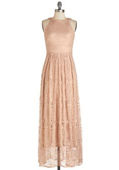 With Style and Lace Dress. Flaunt your unparalleled elegance in this dusty-peach maxi dress from Coconinno by Eva Franco. #gold #prom #modcloth