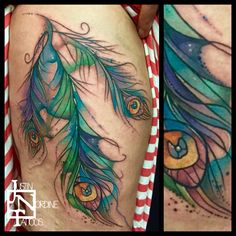 Justin Nordine Tattoos peacock Feathers  www.justinnordinetattoos.com Instagram @justinnordinetattoos facebook.com/justinnordinetattoos
