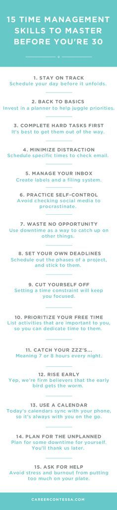 Time management is one of those skills that evolves from a lifelong process of trial and error. Chances are, you're still figuring it out. But by the time you hit 30, you should be ready to focus on other, bigger priorities. Click to learn more about these tips on http://CareerContessa.com